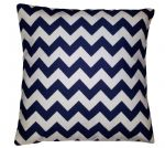 "Cushion Cover in Riley Blake Chevron Blue Navy White Stripe 14"" 16"" 18"" 20"""